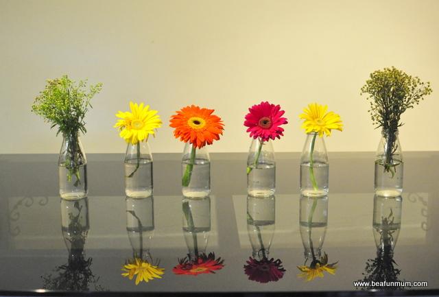 empty glass juice bottles