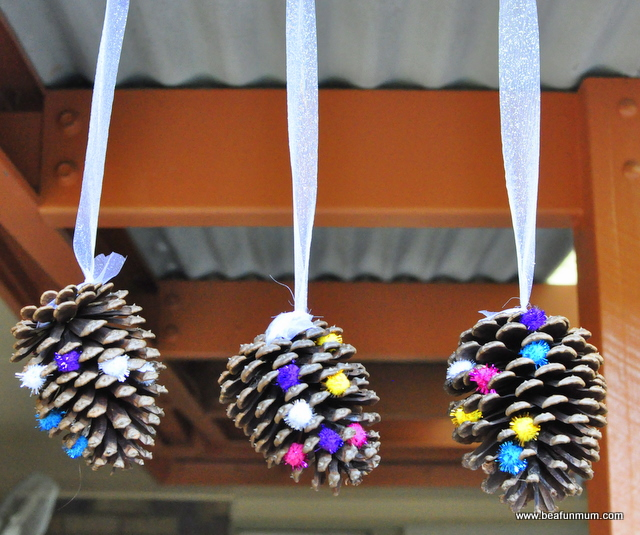 Pine cone crafts -- hanging decoration