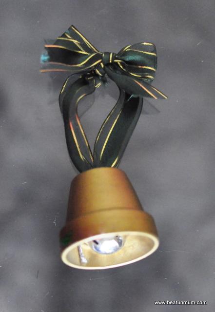 christmas craft -- mini terracotta pot bell