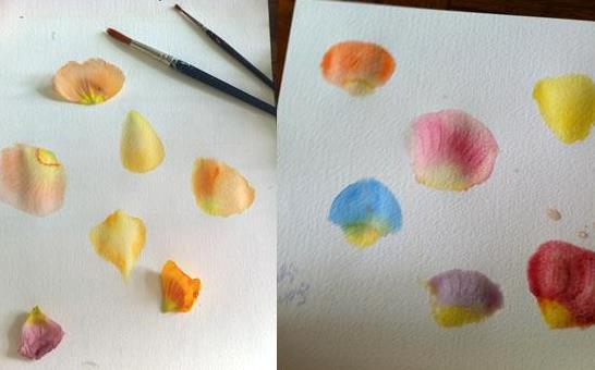 nature crafts -- paint rose petals