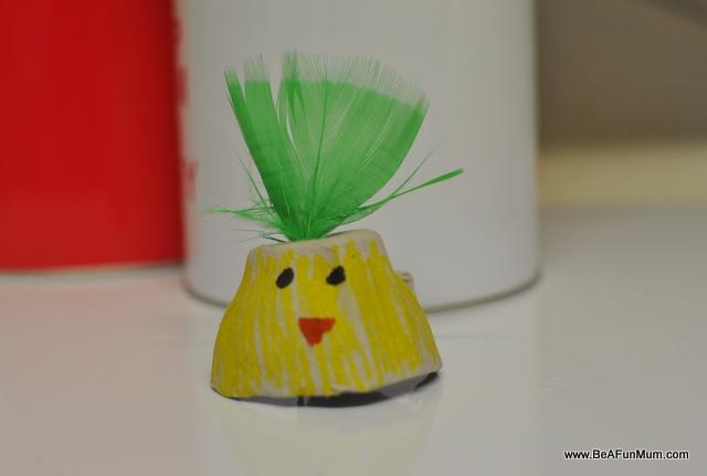 Easter Craft: Egg Carton Easter Egg Chicky
