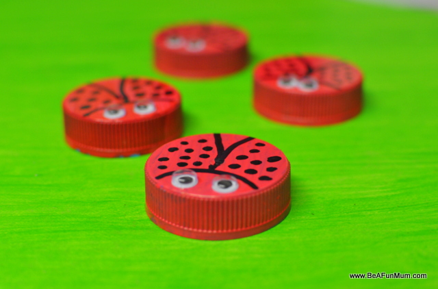 ladybug milk bottle lid craft
