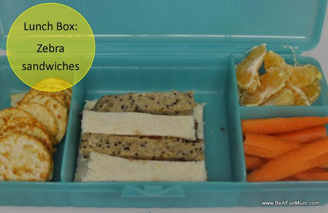 lunch box idea -- zebra sandwiches