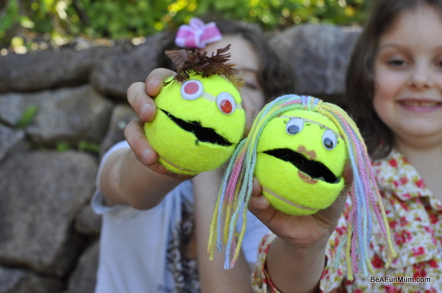 tennis ball head puppet