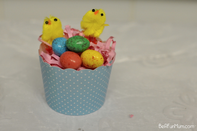 Easter Craft -- cupcake case nest