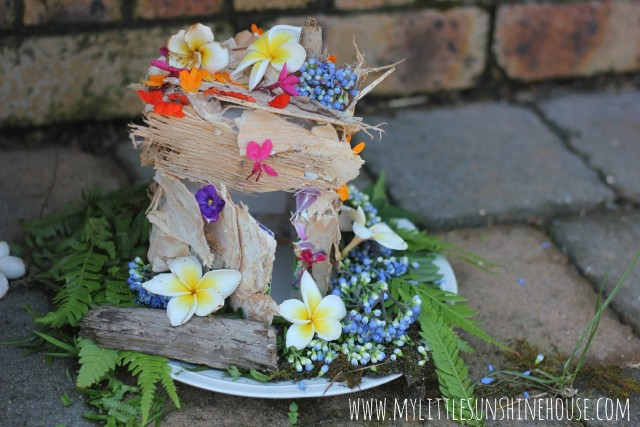 simple fairy house out of natural materials
