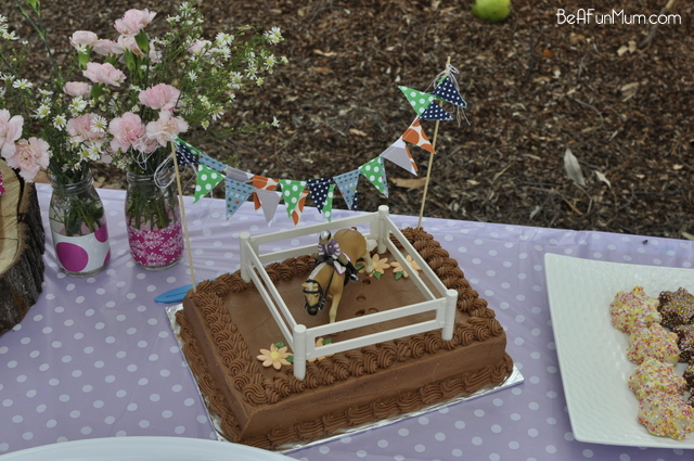 Pony Birthday Cake - with bunting - on beafunmum.com