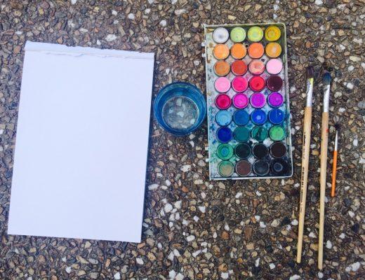 Tools needed for Jacaranda watercolour painting
