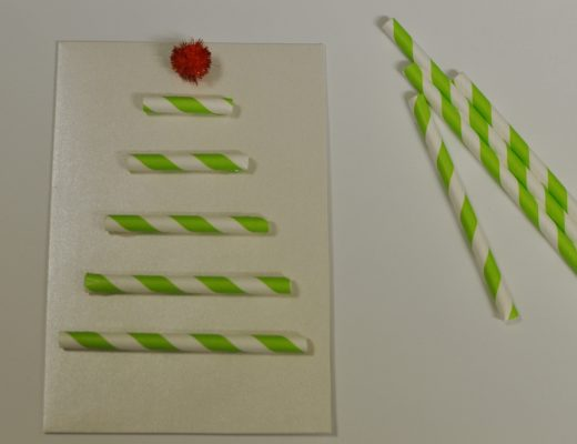 Easy Paper Straw Christmas Card Idea