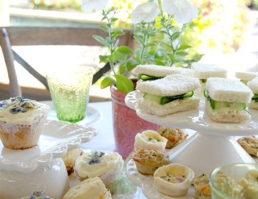 Pansy Cupcake high tea setting