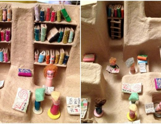 Adorable Mini Library made from cardboard