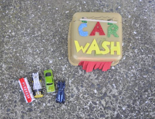 How to make a toy car wash using an ice cream bucket