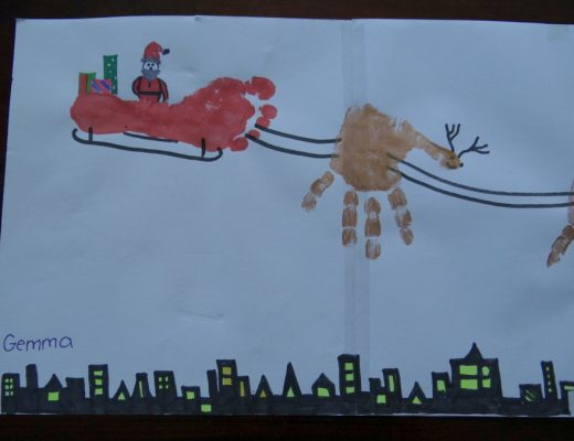 Christmas Craft - Reindeer & Sleigh Foot/Hand Print