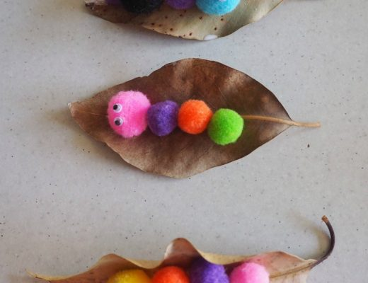 pom pom caterpillars on leaves craft