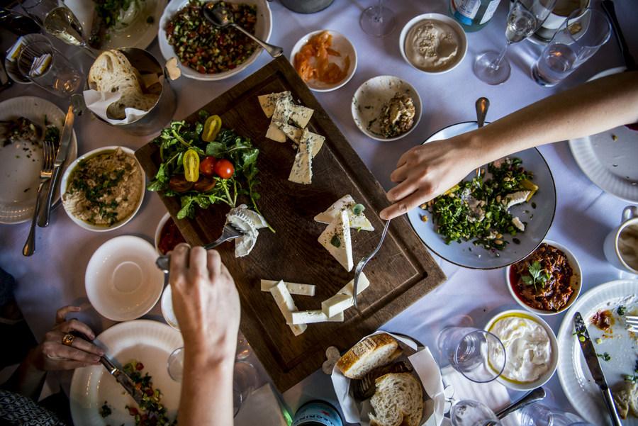 Enjoying breakfast at Turkiz restaurant in Tel Aviv