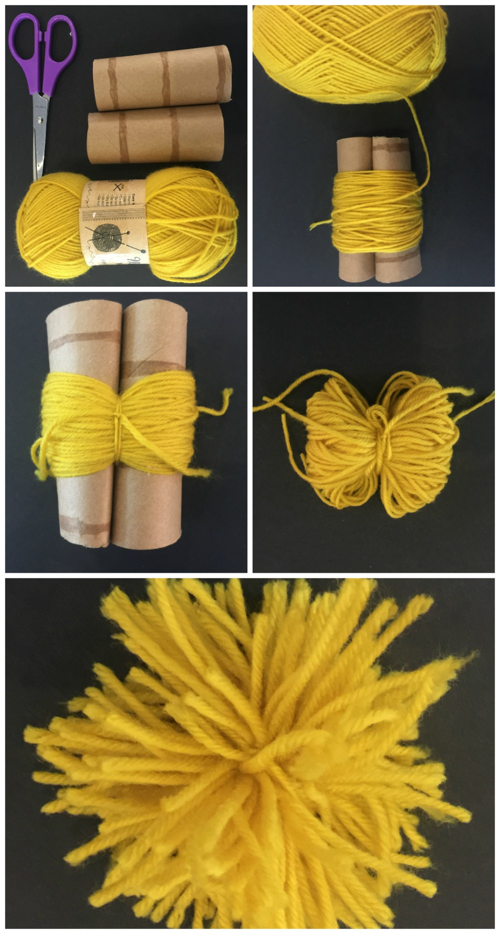 how to make a pom pom using toilet rolls