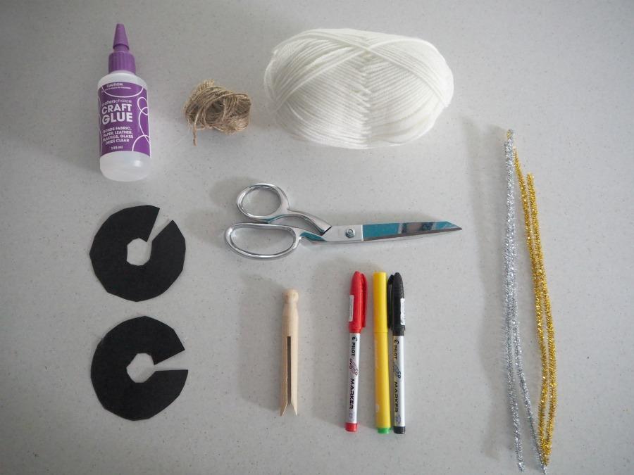 materials for Pom Pom Peg Angel Decoration