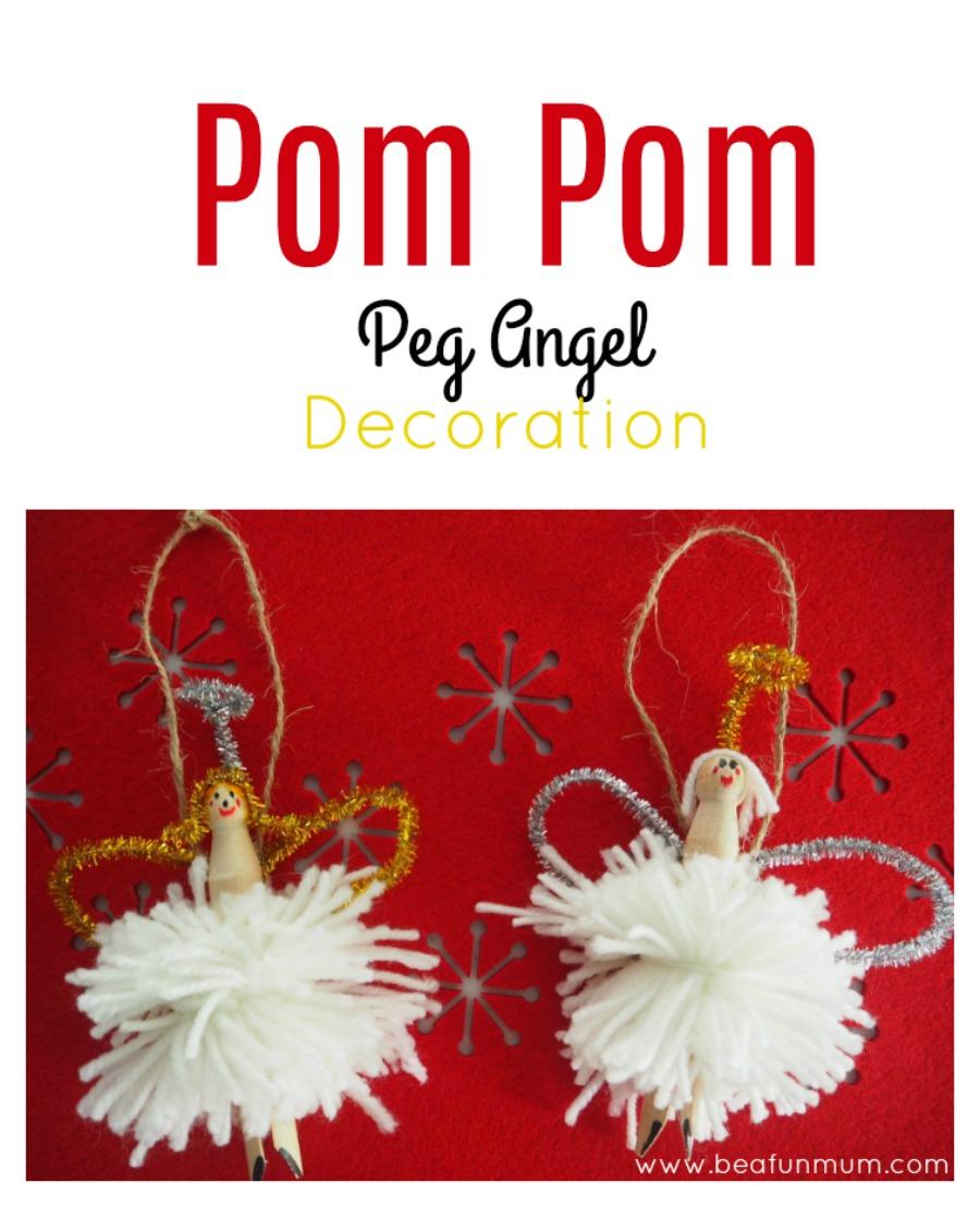 Pom Pom Peg Angel Decoration
