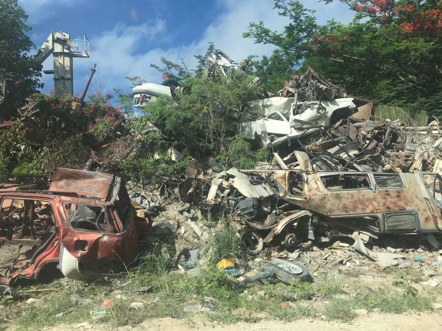 Debris lines the dirt roads of the interior of the island - Nauru 2018