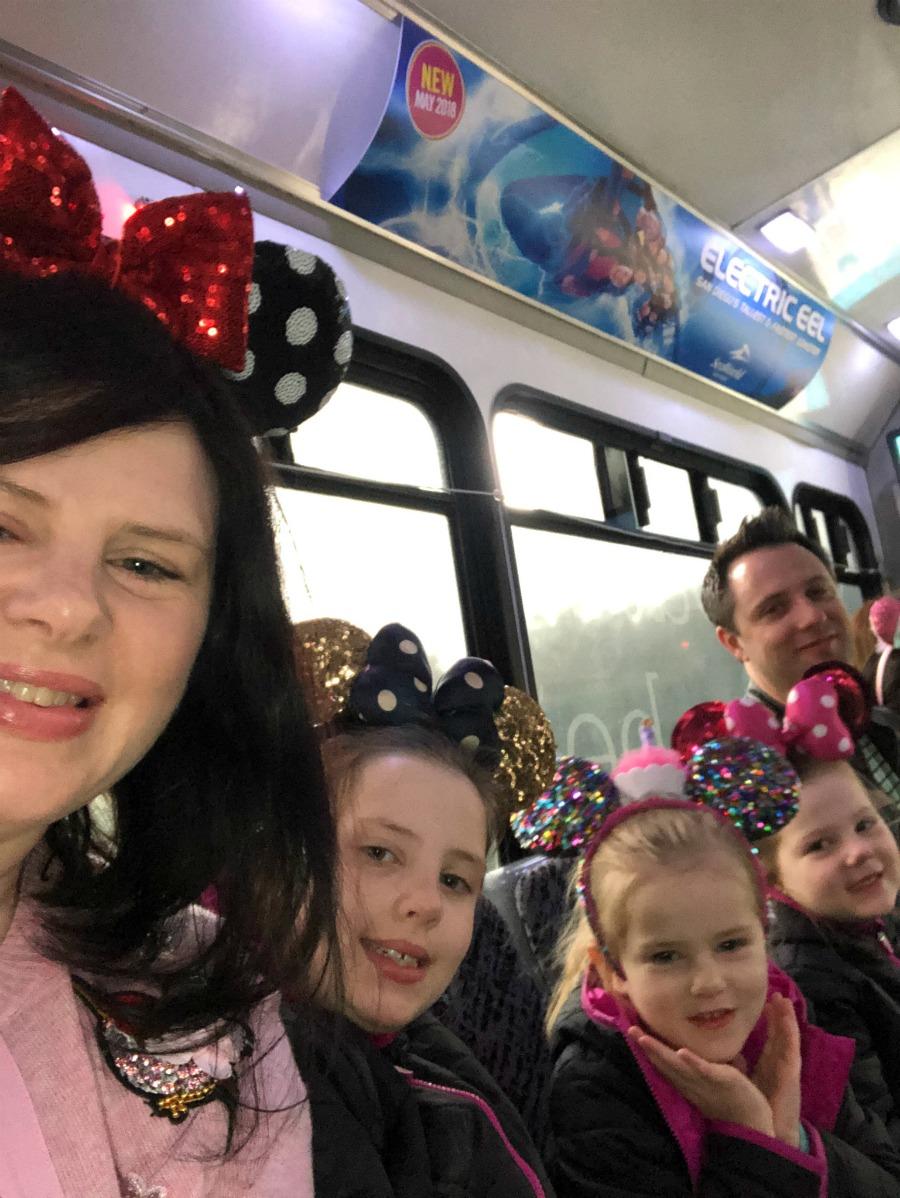 On the shuttle to Disneyland
