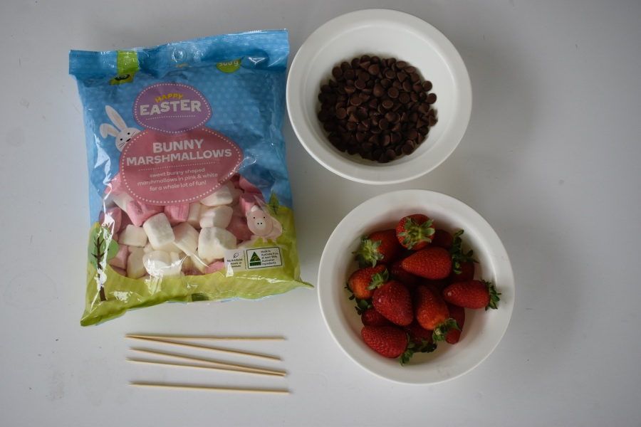 Easter Bunny Marshmallow and Strawberry Kebab