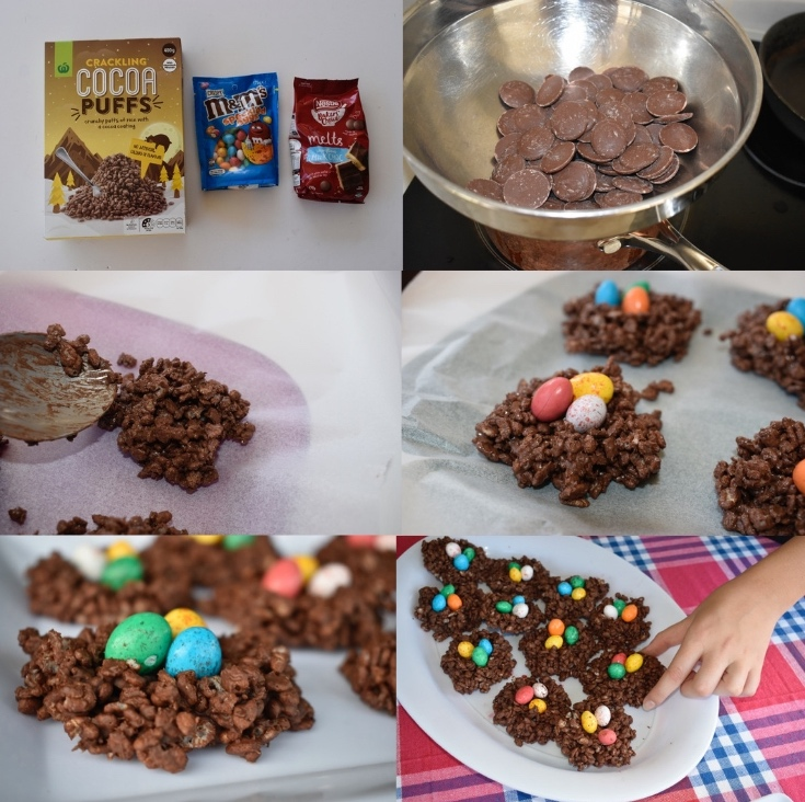 easter food ideas - chocolate crackle nests