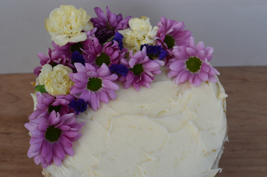 woolies mud cake hack naked cake - with flowers