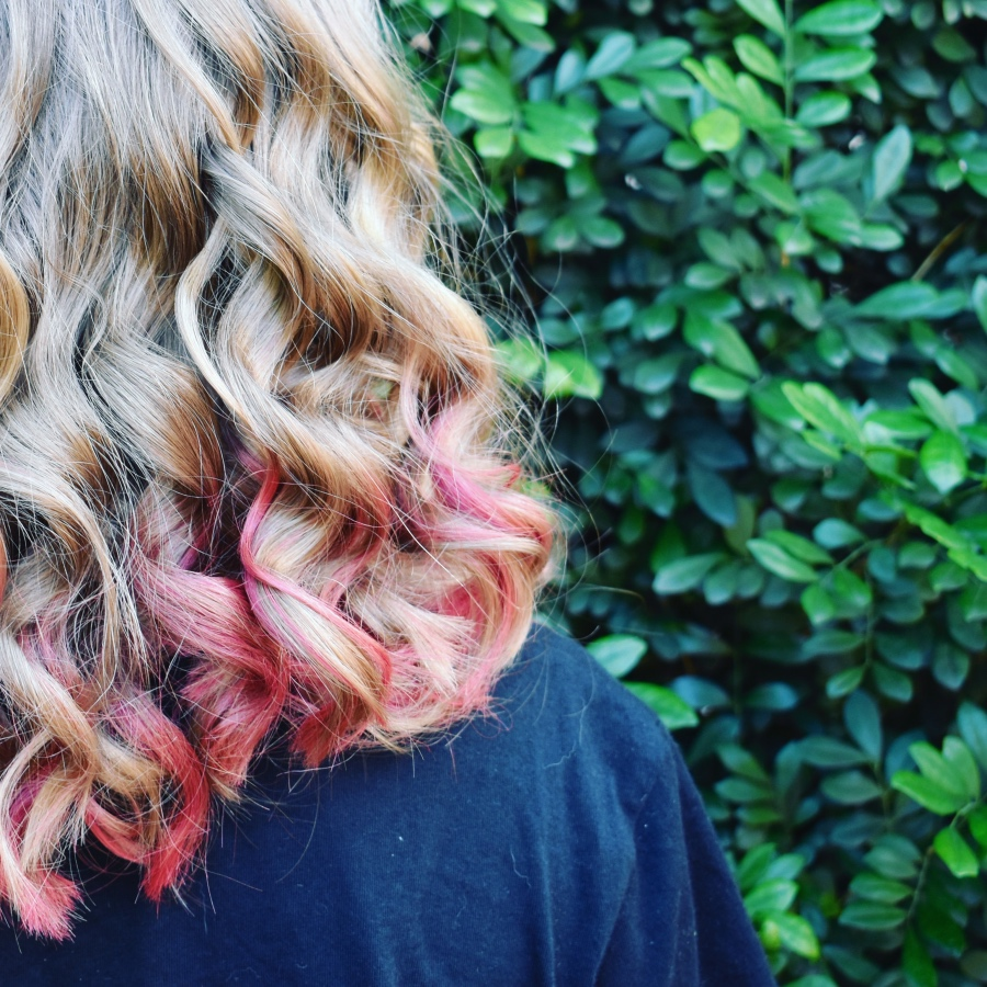 Pink ombre hair dye on blonde hair