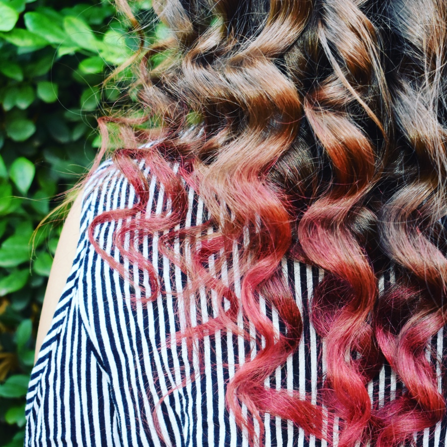 pink ombre hair colour on brown hair