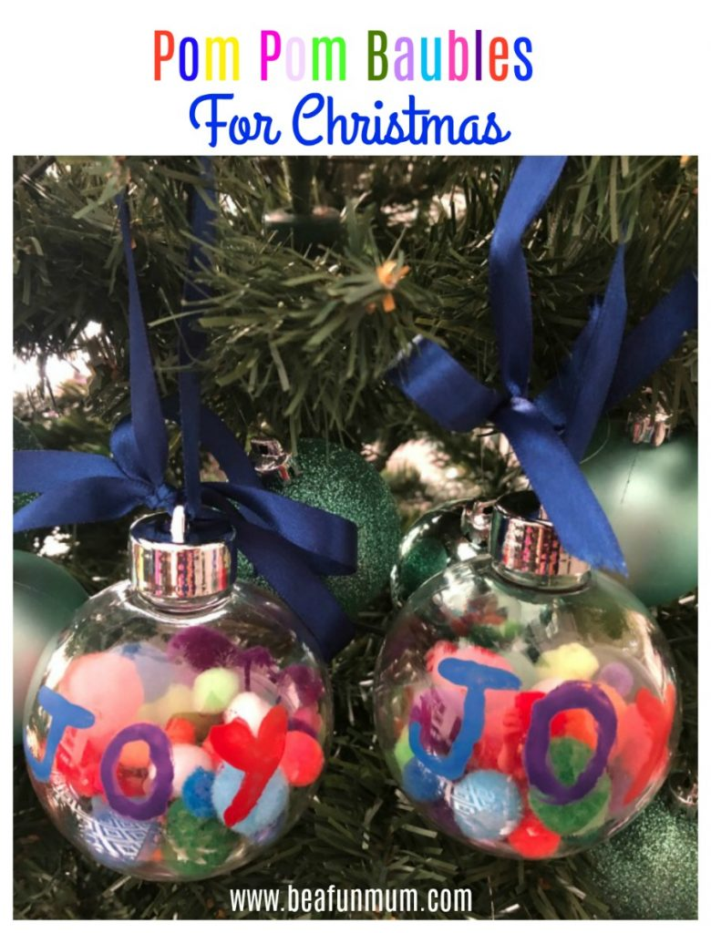 pom pom baubles for Christmas
