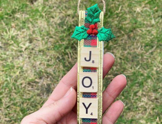 Handmade Christmas Tree Decorations -- Scrabble Tiles Ribbon Christmas Tree Decoration