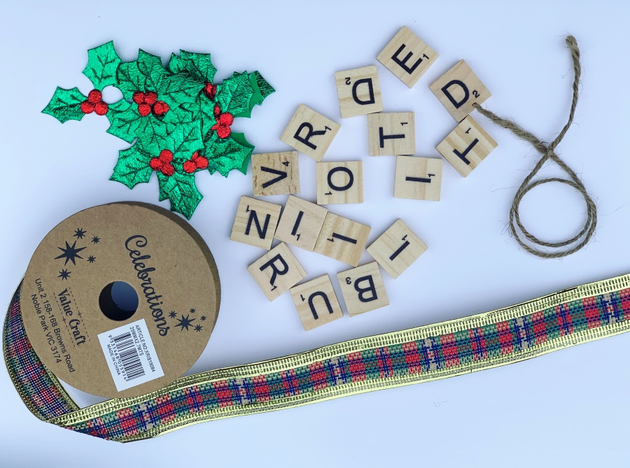 Scrabble Tiles Ribbon Christmas Tree Decoration