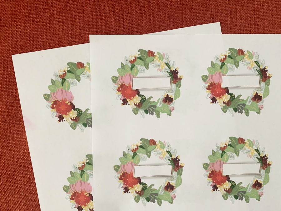 christmas wreath name place cards printable