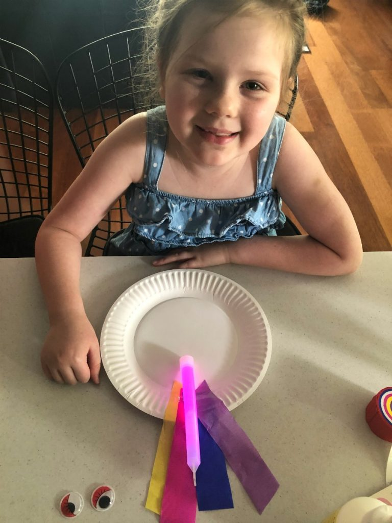 Unicorn craft for kids with glow sticks