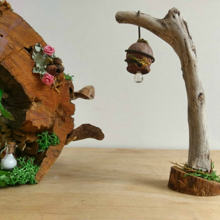 fairy house with gum nut light