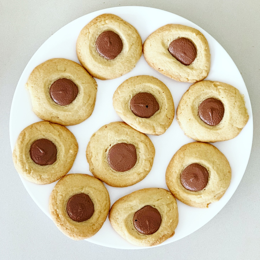 chewy biscuits with a chocolate centre