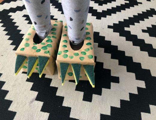 Dinosaur tissue box slippers