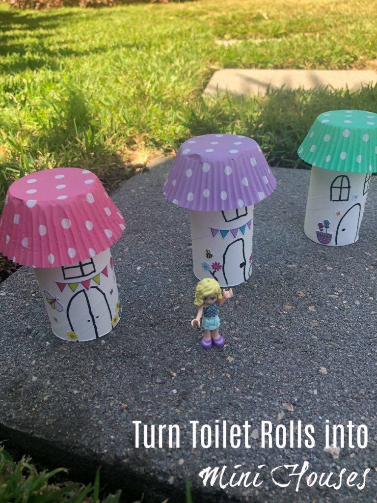 turn empty toilet rolls into mini houses