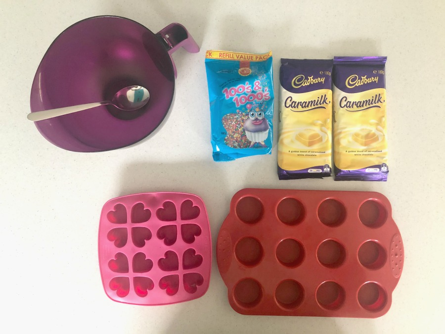 ingredients for Caramilk Chocolate Freckles
