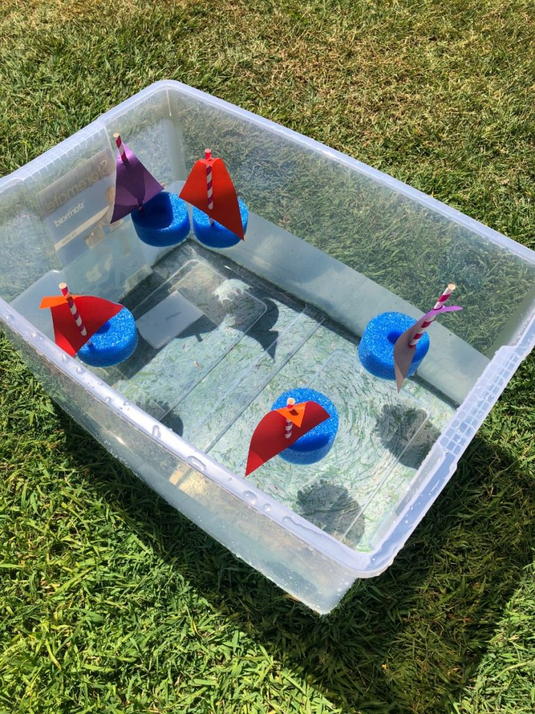 pool noodle boats in tub of water