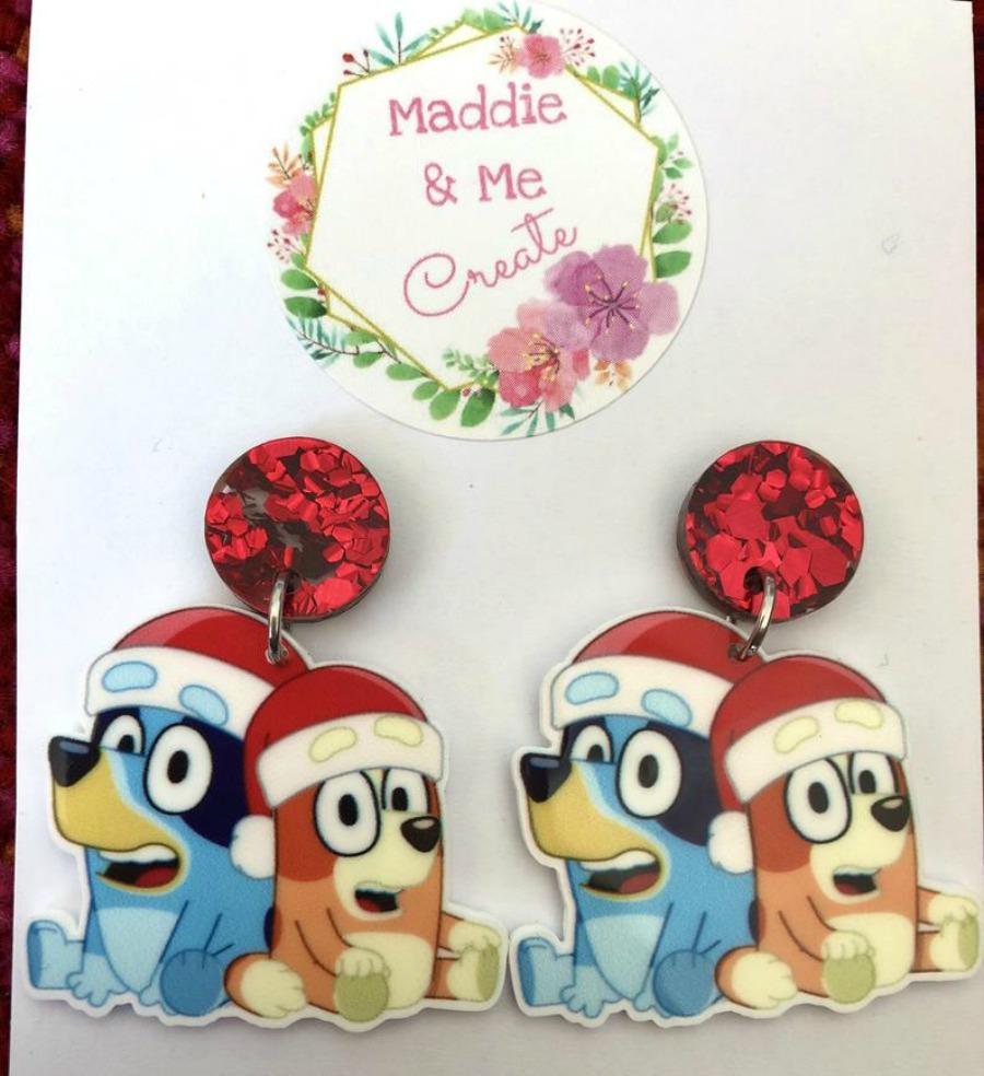 Bluey Christmas Earrings