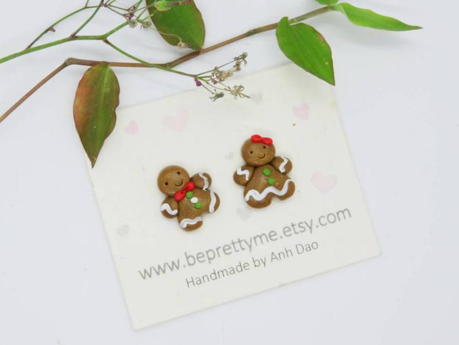Gingerbread people Christmas Earrings