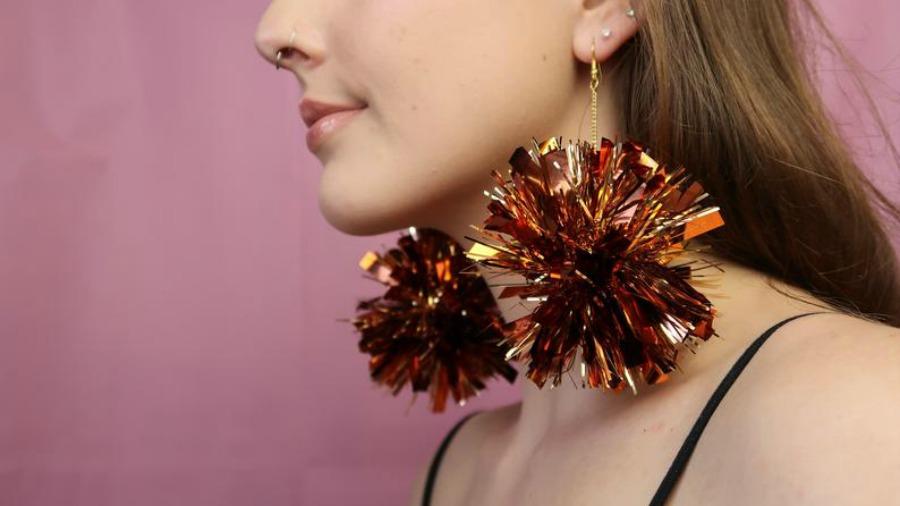 Tinsel Pom Pom Christmas Earrings