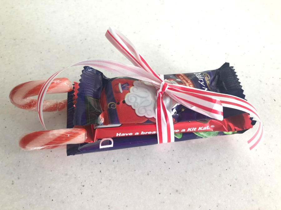 ribbon on chocolate sleigh
