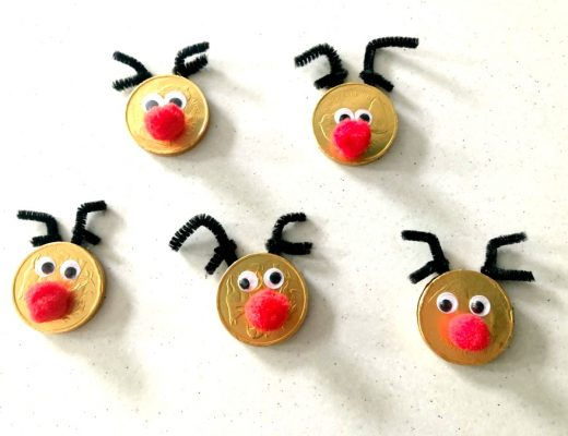 Turn Gold Chocolate Coins into Rudolph Treats