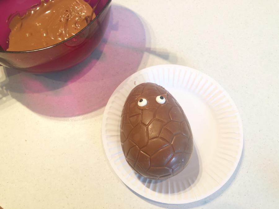 Add eyes to chocolate egg