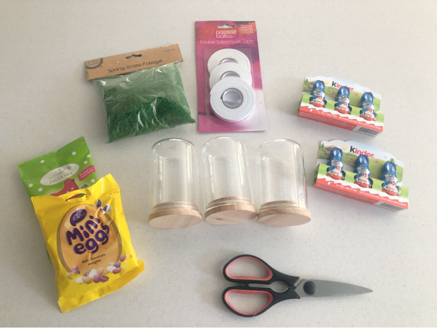 Materials for Easter Choc Bunny Terrarium