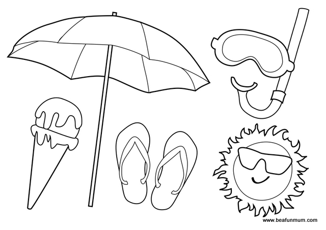 Free Beach Colouring Page Australian Summer
