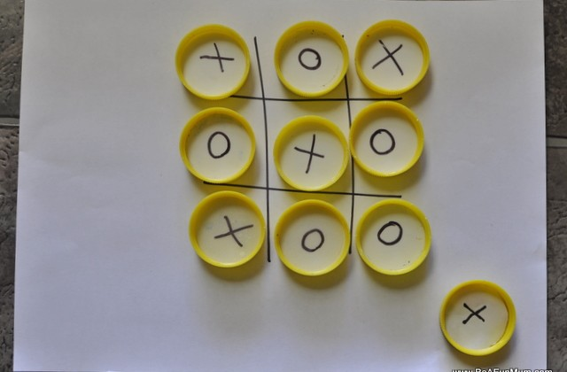 Milk Bottle Lid Craft: Naughts and Crosses