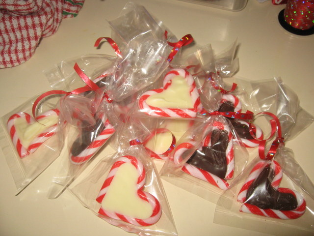 christmas food -- candy cane chocolate hearts